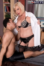 She's banging him. This babe is old sufficient to be his grandmother