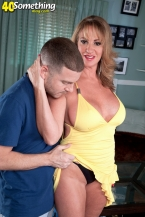 Hot HORNY HOUSEWIFE licks cum off a table