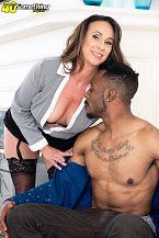 Raelynn sucks and shags a large, dark cock
